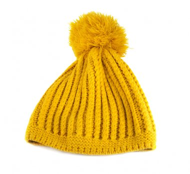 Yellow crochet knit hat isolated