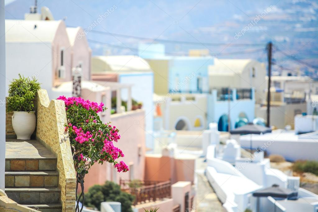 Charming view of small village in Santorini, Greece
