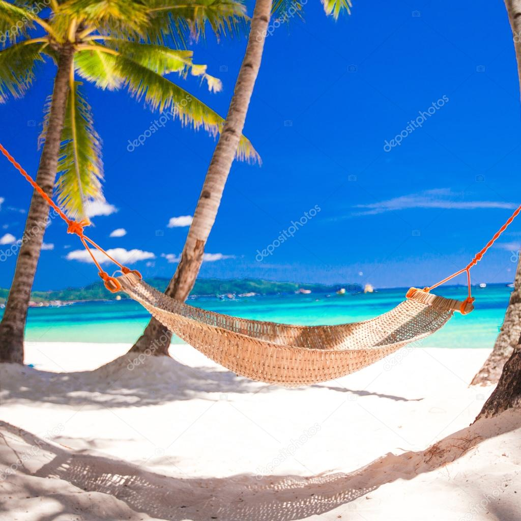 Straw hammock in the shadow of palm on tropical beach by sea