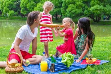 Family of four have picnic in the park on summer day