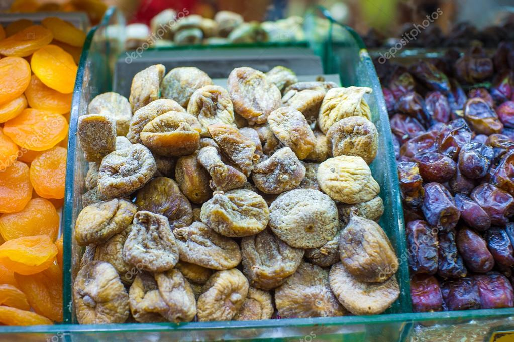 Dried figs and dried apricots on Egyptian bazaar