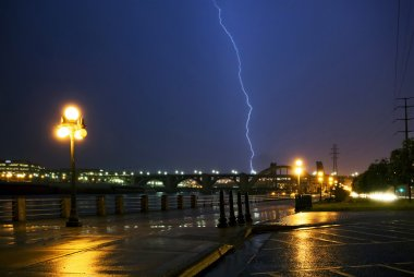 Lightning strike over the Mississippi river and bridges, downtown. Saint Paul, Minnesota