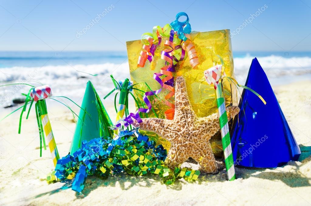 Birthday decorations on the beach Stock Photo EllenSmile 32369957