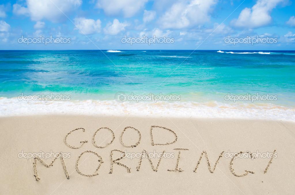 Schild Guten Morgen Am Strand Stockfoto Ellensmile