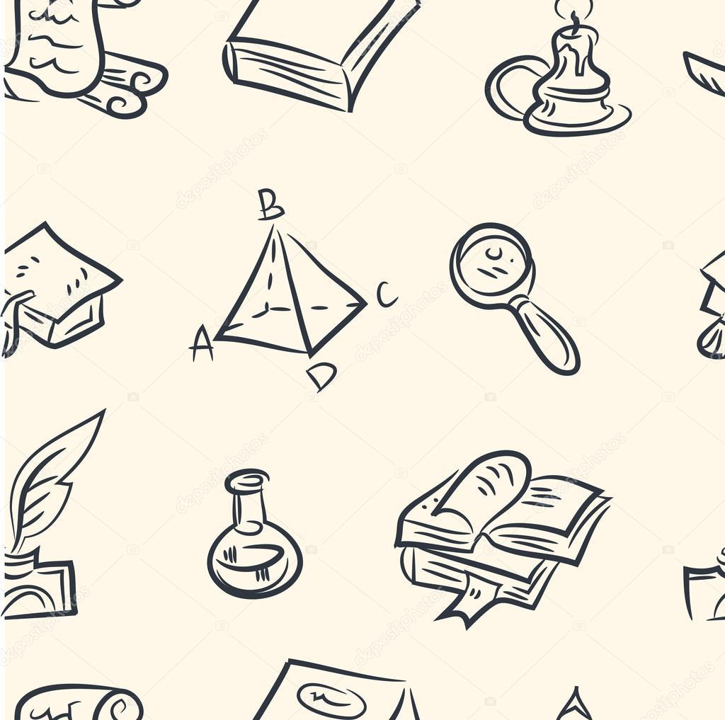patrones sin fisuras. juego de cables de Doodle — Archivo Imágenes ...