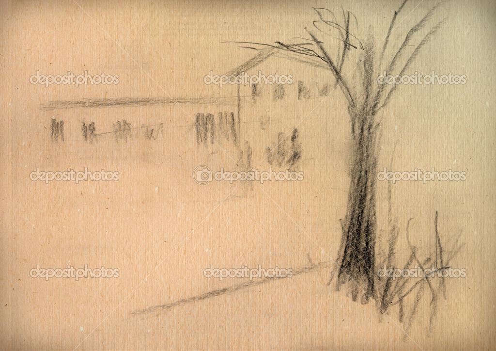 Vintage paper with a sketch of rural landscape