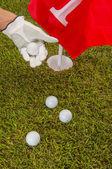 golfové věci na zelené trávě