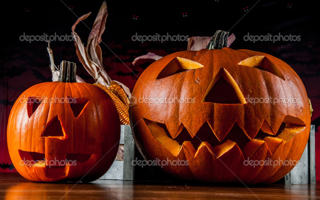 Scary pumpkins, halloween concept — Stock Photo © oleksaj #32558615