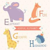 Fényképek állati ábécé. vector aranyos állatkerti állatok. 2. rész