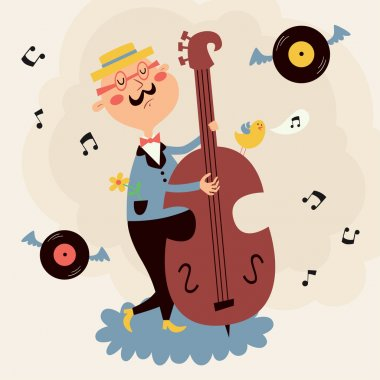 Vector illustration of double bass player