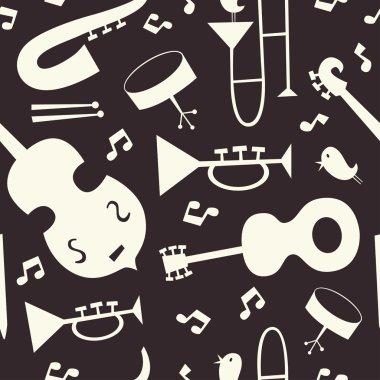 Jazz instruments vector seamless pattern