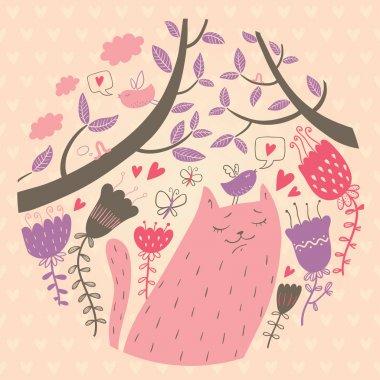 Vector illustration of cat in love