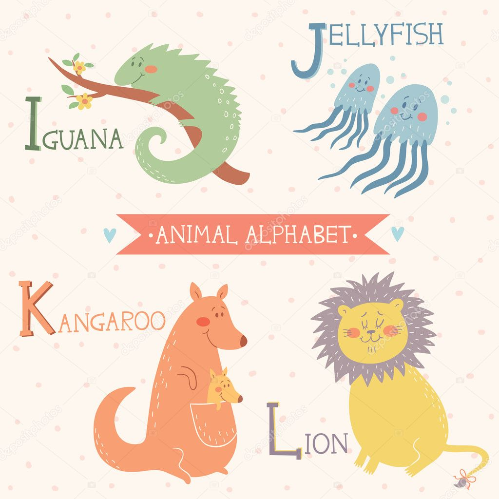 Animal alphabet. Cute vector zoo animals. Part 3