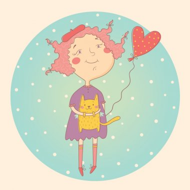 Vector illustration of little girl with a cat