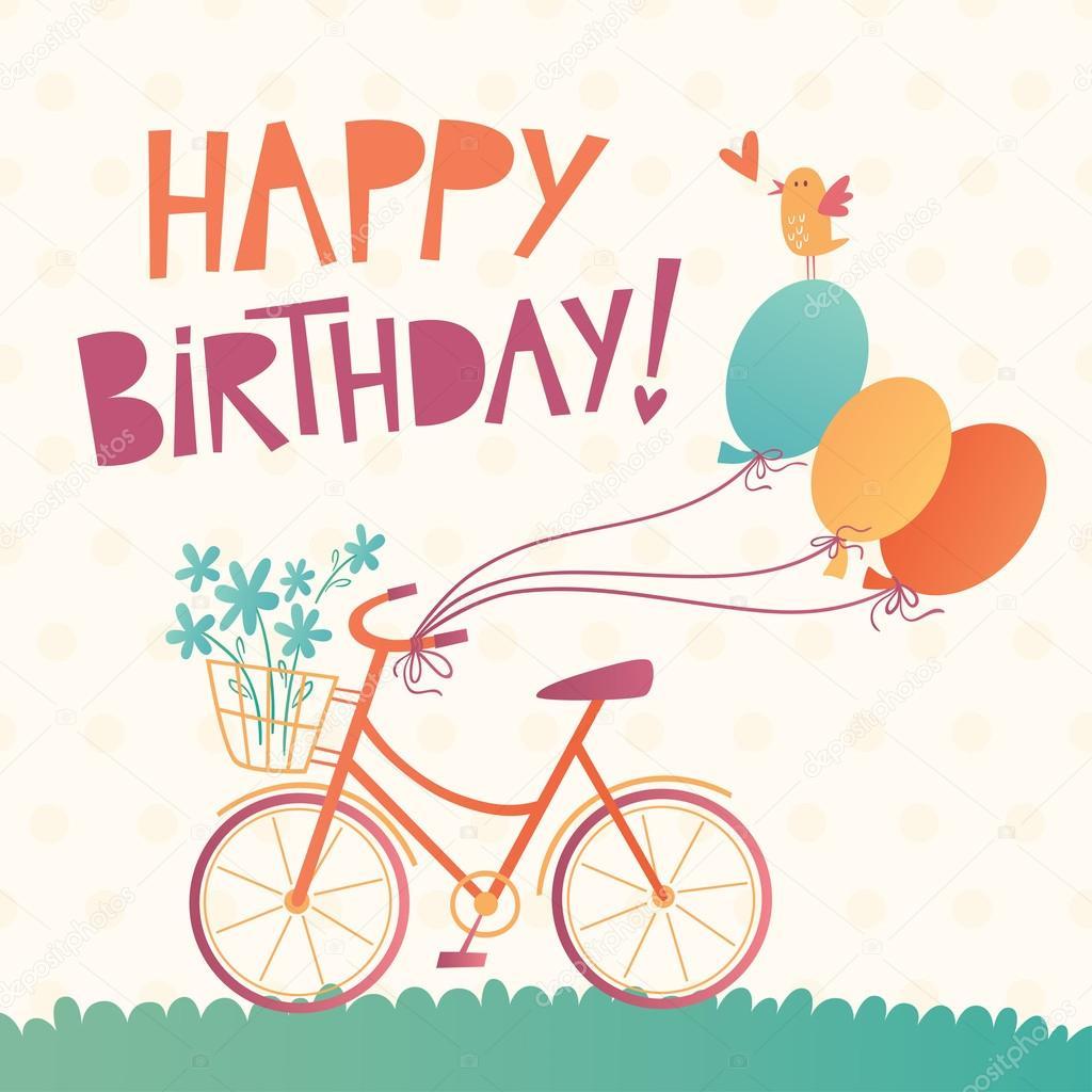 Carta Vettoriale Di Buon Compleanno Con Una Bicicletta Vettoriali