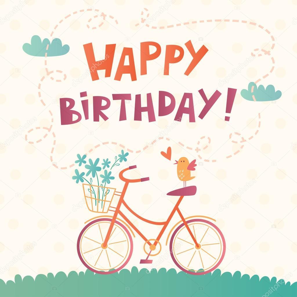 Fotografie Di Buon Compleanno Con Bicicletta Carta Vettoriale Di