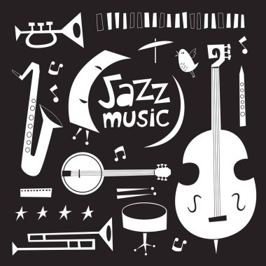 Musical instruments vintage vector set in black and white