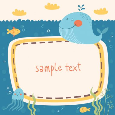 Sea life vector frame