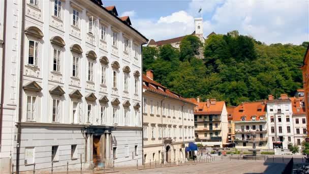 Lublaň město a hrad timelapse