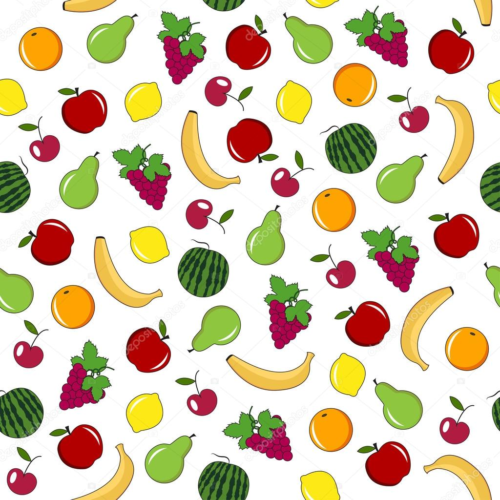 Fruits and berries seamless pattern.
