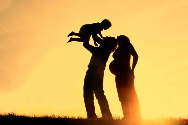 Family Silhouette Sunset