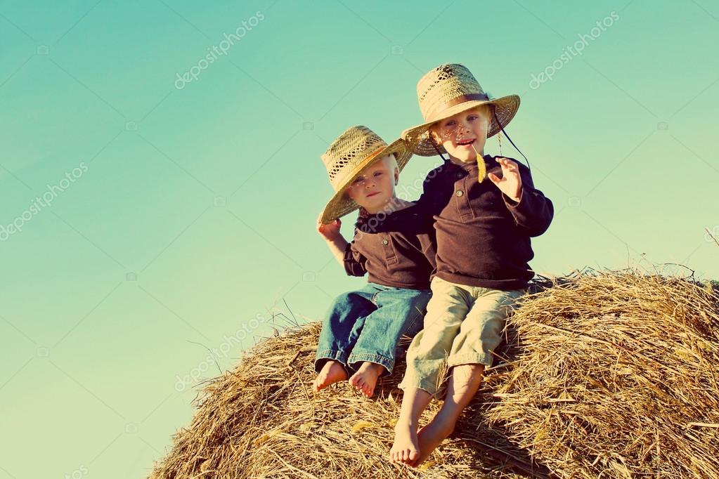 Little Country Boys on Farm