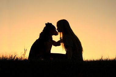 Woman Hugging Dog Silhouette