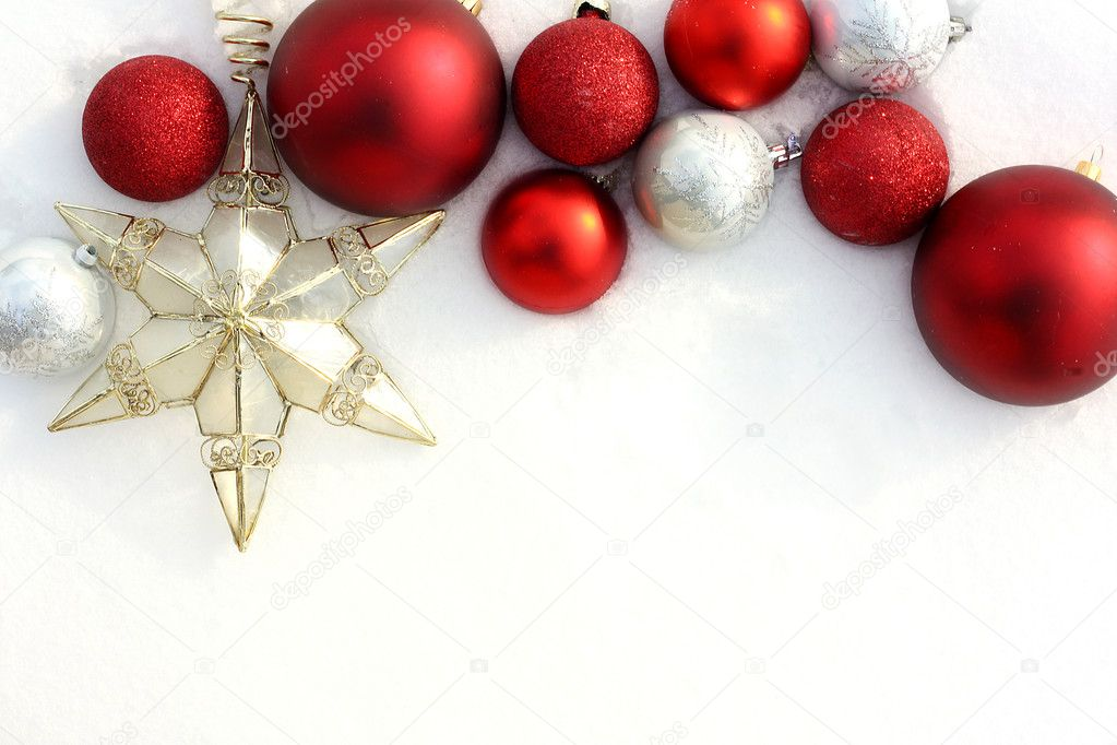 Red Christmas Bulbs and Star in White Snow Border