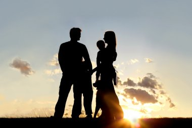 Silhouette of Happy Family and Dog Outside at Sunset