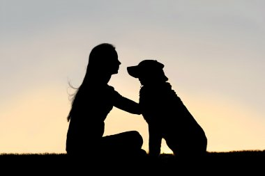 Woman Sitting Outside Petting Dog Silhouette