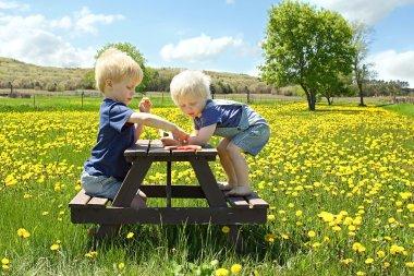 Children Having Fruit Picnic Outside
