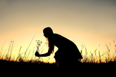 Silhouette of Woman Picking Wildflowers in Meadow at Sunset