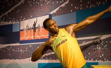 The statue of Usain Bolt
