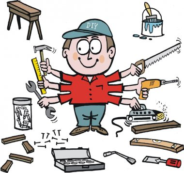multi tasking handyman cartoon showing different tools.
