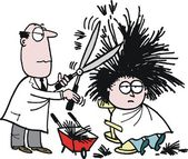 Vector cartoon of barber using shears on hairy customer
