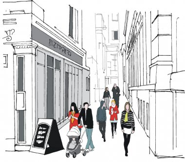 Vector illustration of old London buildings and pedestrians