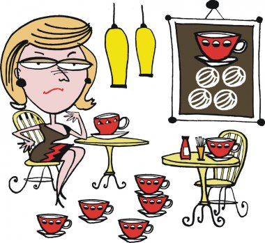 Vector cartoon of woman drinking coffee.