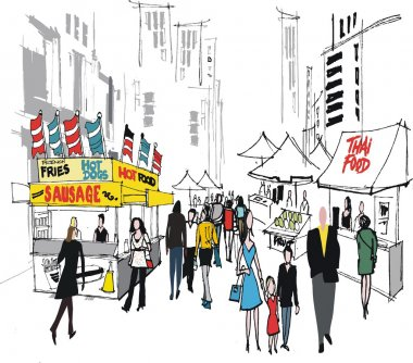 Vector illustration of food market and , New York city.