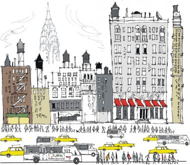 Vector illustration of Manhattan buildings, traffic and pedestrians, New York.