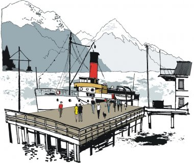Vector illustration of historic steamship at wharf, Queenstown, New Zealand
