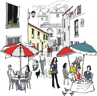 Vector illustration of street cafe and diners, Monchique, Portugal.