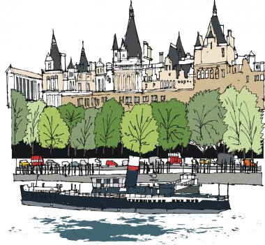 Vector illustration of embankment buildings and boat, London