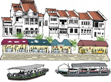 Vector illustration of old Singapore buildings, and river boats.