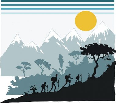 Vector illustration of family hiking in mountains