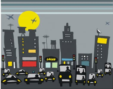 Vector illustration of rush hour traffic with city buildings.
