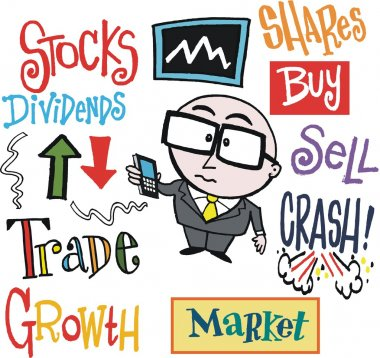 Vector cartoon of stock exchange trader with mobile phone.