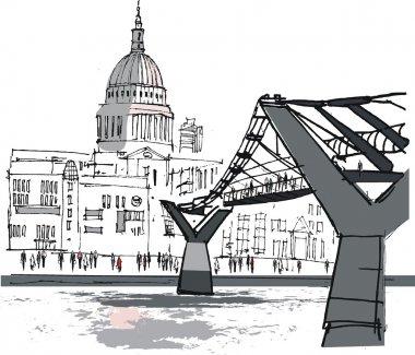 Vector illustration of pedestrian bridge, river Thames, London England