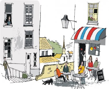 Vector illustration of old French cafe with diners, Europe.