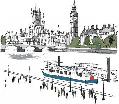 Vector illustration of river Thames and Westminster buildings