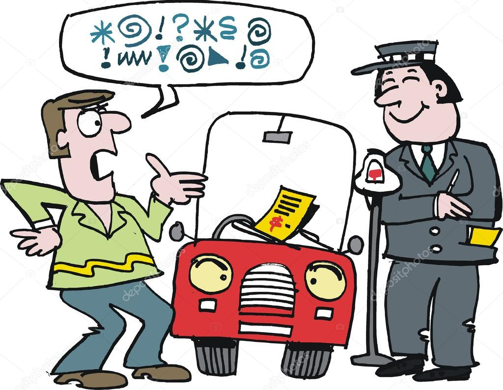 Vector Cartoon Of Motorist Arguing With Traffic Warden